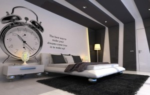 chambre-autocollant-mural-réveil-rayure-noir-blanc-1